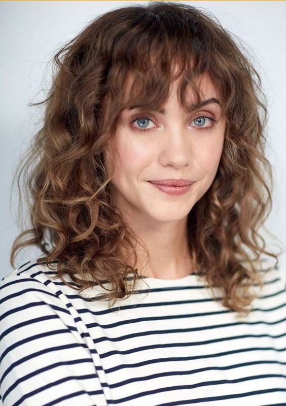 45 Best Shoulder Length Naturally Curly Haircuts With Bangs 2018