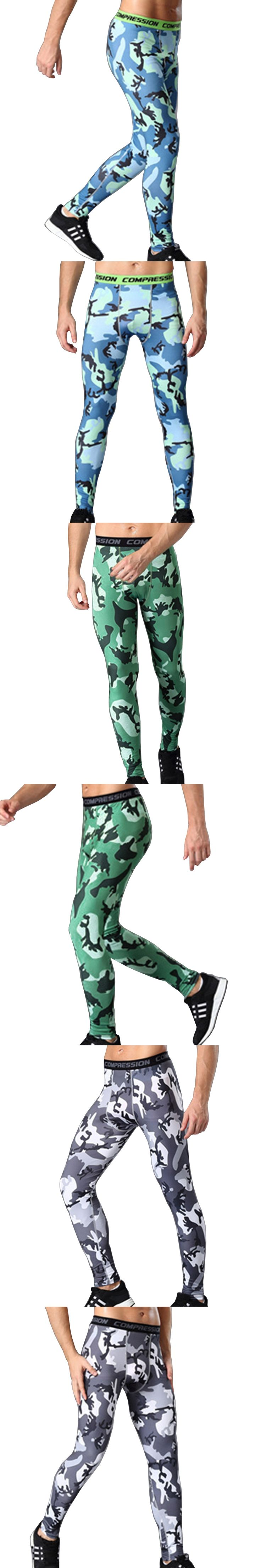 2017 Men Compression Pants Tights Casual  Bodybuilding Mans Trousers Brand Camouflage Army Green Skinny Leggings