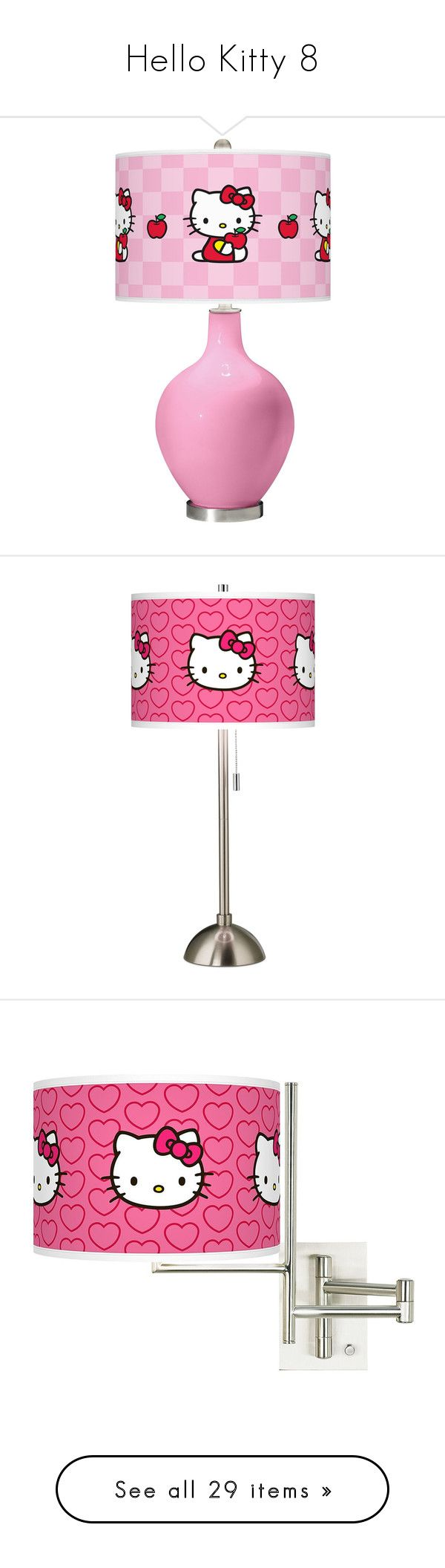 """""""Hello Kitty 8"""" by denise-drinhouser ❤ liked on Polyvore featuring home, lighting, table lamps, hello kitty, hello kitty table lamp, contemporary modern lighting, hello kitty lamp, pink light shade, handmade lamps and hello kitty lights"""