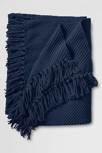 chunky navy throw from Lands' End