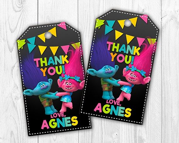Trolls Thank You Tags or Labels