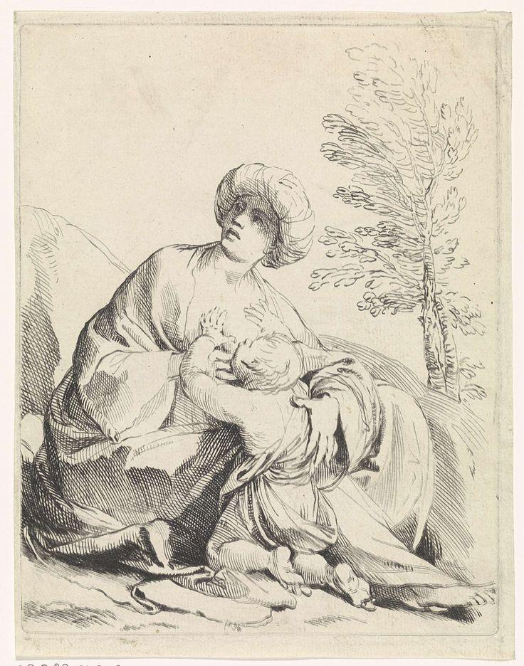 Bernard Picart | Een zogende vrouw, Bernard Picart, Ludovico Carracci, 1683 - 1733 | Een vrouw met een tulband op het hoofd zoogt haar kind (Hagar en Ismaël?) in een bergachtig landschap.