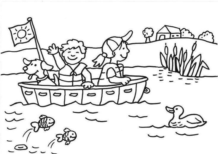ausmalbild sommer bootsfahrt kostenlos ausdrucken