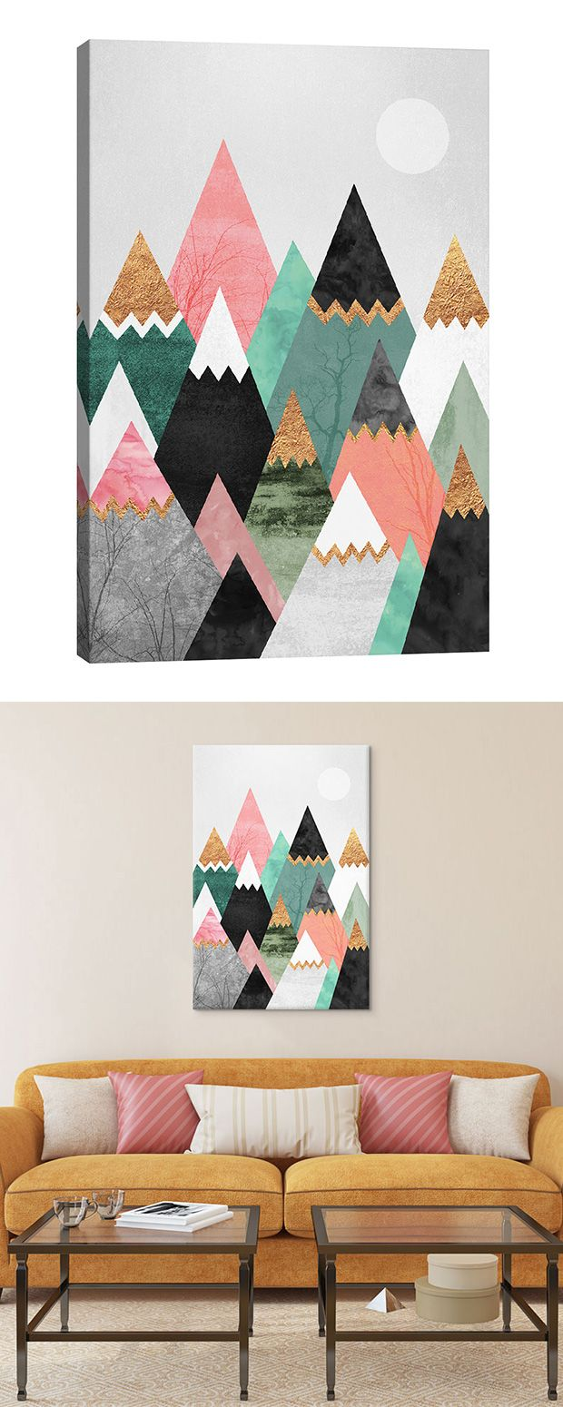 Dipped in glistening gold foil and filled with stark winter woodland scenes, the rocky terrain of this Peeking Peaks Canvas Print is the wonderful work of fantasy. Proudly hang this dream-like mountain...  Find the Peeking Peaks Canvas Print, as seen in the New Arrivals Collection at http://dotandbo.com/collections/new-arrivals-7-slash-5?utm_source=pinterest&utm_medium=organic&db_sku=126494