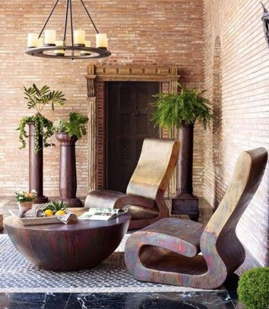 Patio Sculptural wood furniture
