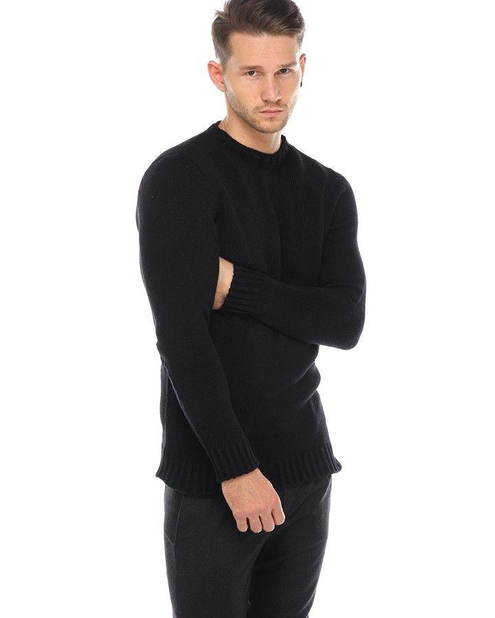 Hannibal MELVIN Strick-Pullover Schwarz  schlichter Strick-Pullover von Hannibal aus einer hochwertigen Alpaka-Kaschmir-Seiden-Mischung in Schwarz Rundhalsausschnitt langer, gearder Schnitt