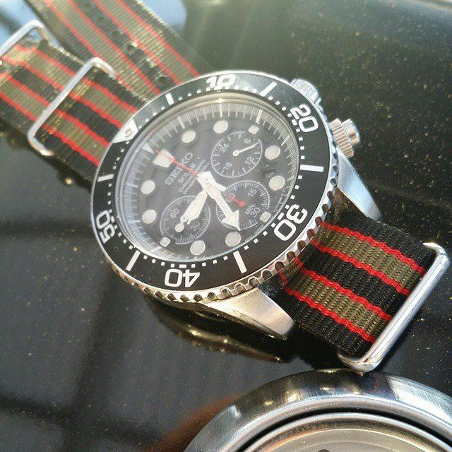 "18mm NATO Regimental Strap Black, Red and Green ""James Bond"" - Cheapest NATO Straps  - 24"