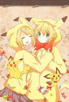 Rin and Len and Pikachu
