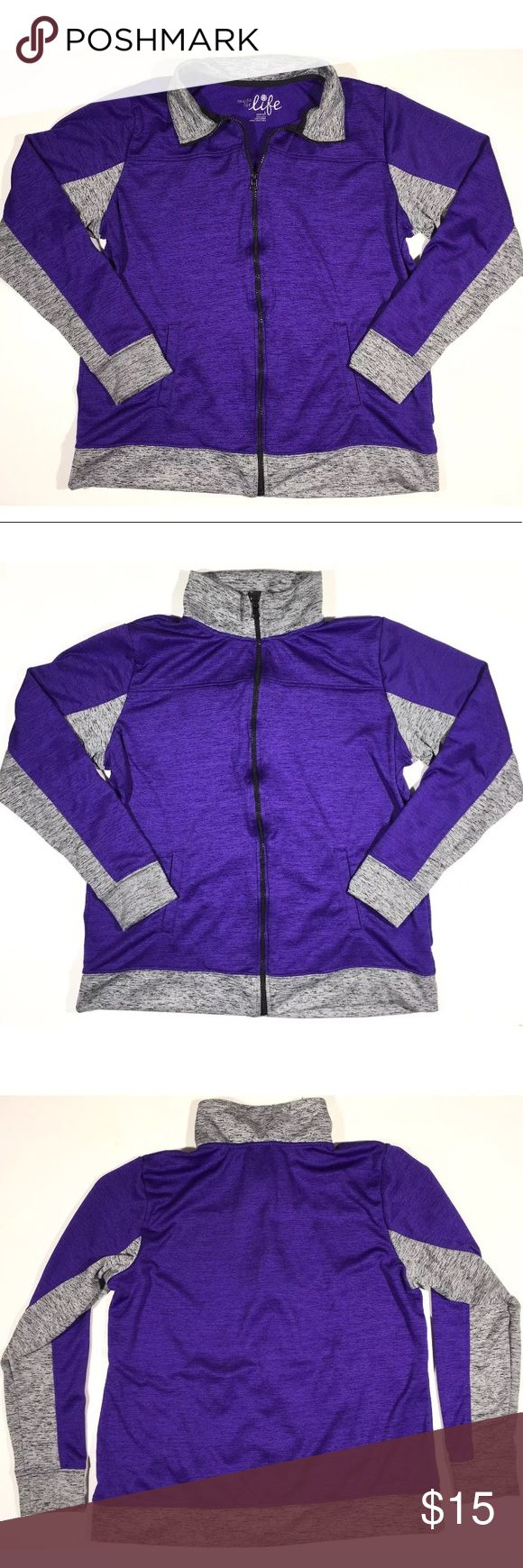 "Athletic Purple Zip up Quick Dri Yoga Jacket WOMENS  Made for Life JACKET  Size: L  Athletic Quick Dri Fabric  Zip up Jacket Heathered Purple & Gray with black zipper Excellent used condition!   Chest: 21 1/2"" Overall length (collar to hem): 25"" Armpit to cuff: 20"" Cuff width: 4"" Width at bottom: 21"" Made for Life Jackets & Coats"