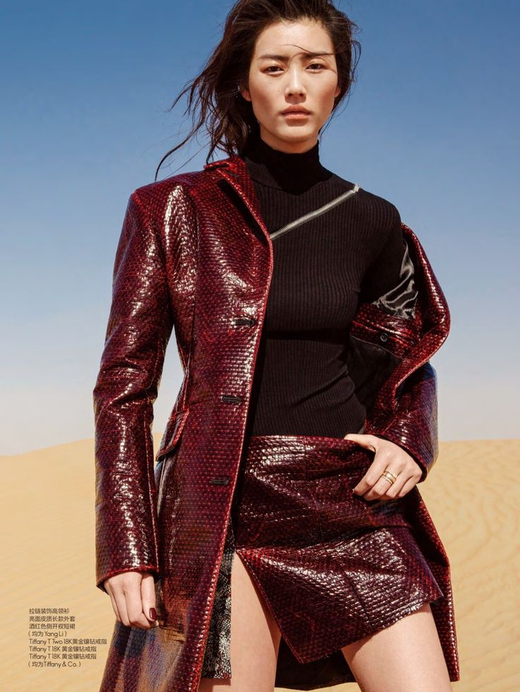 Liu Wen models Tang Li coat, turtleneck and miniskirt