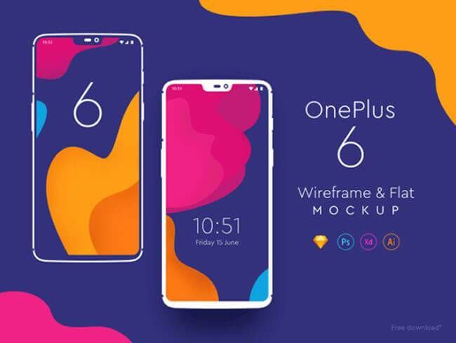 10 Realistic One Plus 6 Mockups Free Download (PSD, Sketch