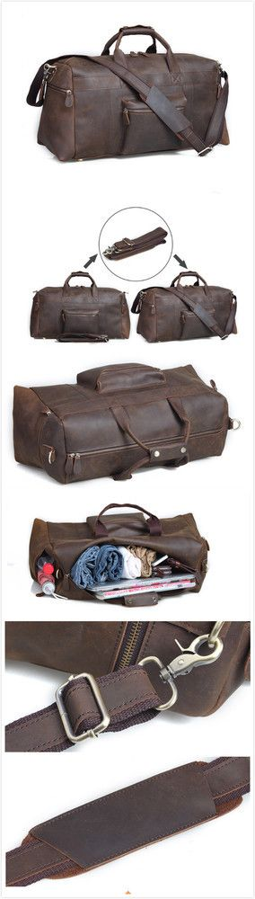 VINTAGE HANDMADE ANTIQUE LEATHER TRAVEL BAG / TOTE / MESSENGER BAG / OVERNIGHT BAG L107