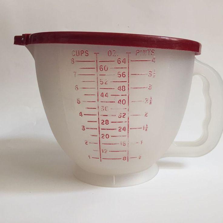 Vintage Tupperware 8 Cup Mix N Stor Measuring Batter Bowl 500 3 Red Lid 696 2 Vintage Tupperware