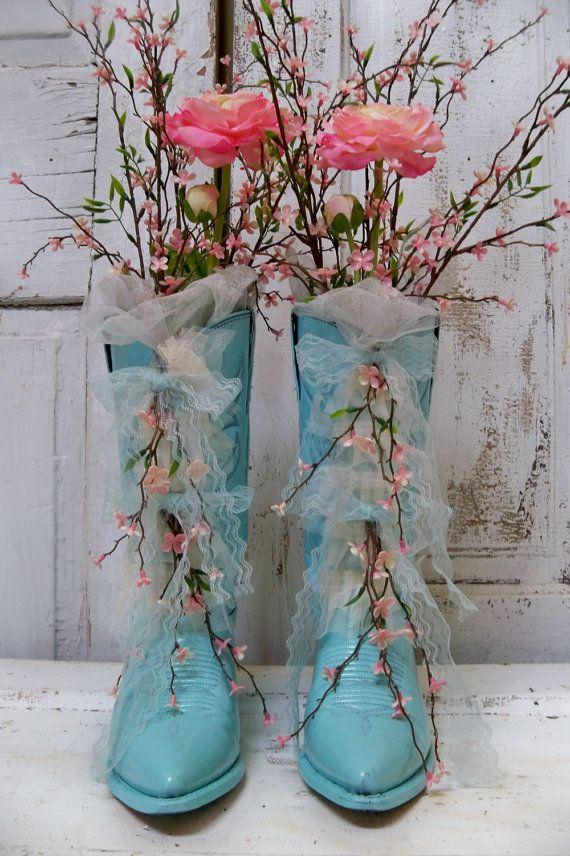 Decorative floral arrangement cowboy boots aqua blue pink floral decor western cottage home decor anita spero via Etsy