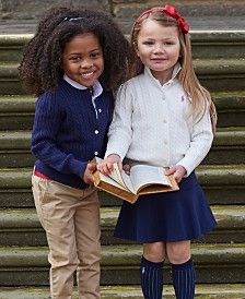 Ralph Lauren Girls' Sweater, Polo, Chino Pants, Solid Oxford Top, Cable Cardigan & Chino Skirt