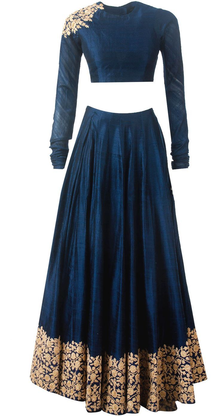 Navy blue embroidered lehnga available only at Pernia's Pop-Up Shop.: