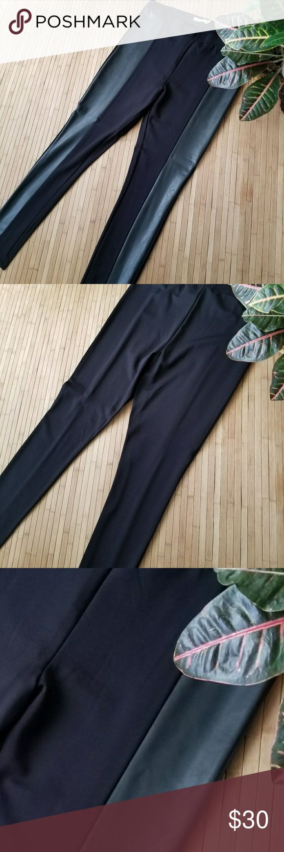 """BNWOT Black Faux Leather Panel Leggings Brand new, thick and firm black leggings with a faux leather panel down each leg. 18.5"""" unstretched waist, 12"""" front rise, 17"""" in back rise, and 31"""" inseam. JustFab Pants Leggings"""