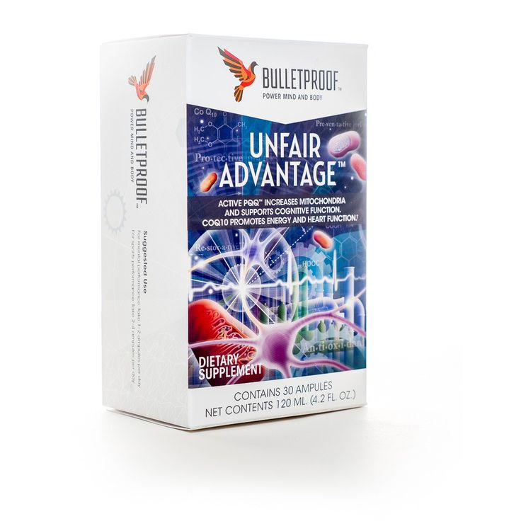 Benefits: Promotes heart cell and nerve cell function Enhances mitochondrial function, your cells' power plants Helps make the energy you need for peak performance in physical workouts Bio-identical ActivePQQ™ and CoQ10 Patented colloidal delivery technology for maximum effect Description: 1 carton of Unfair Advantage containing 30 Mini-Shots™ (1 month supply) 30 Ampules Net Contents 120 ML