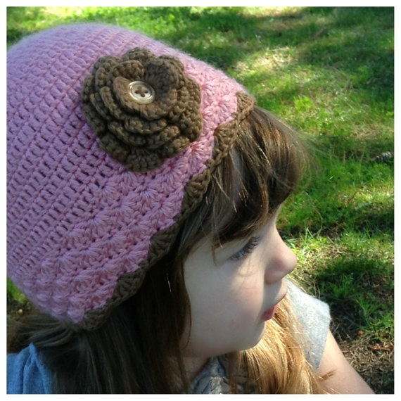 pink and brown rose beanie by EvelynMaeCrochet on Etsy - $22