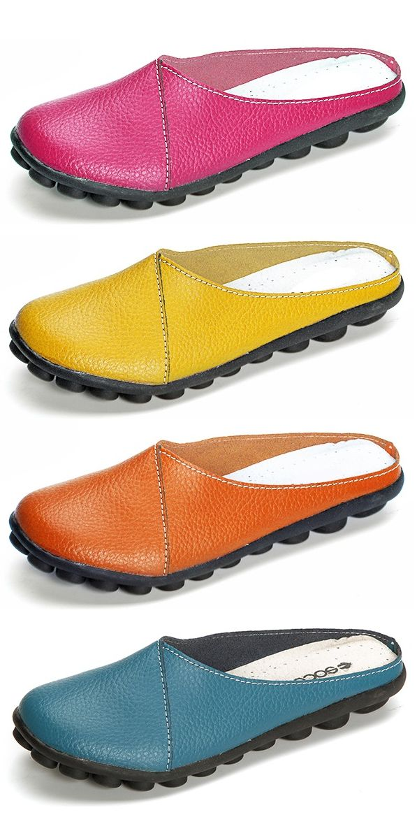 SOCOFY Big Size Pure Color Soft Sole Casual Open Heel Lazy Flat Shoes.Flash Deals Every Day,Up To 47% OFF.Shop Today!!