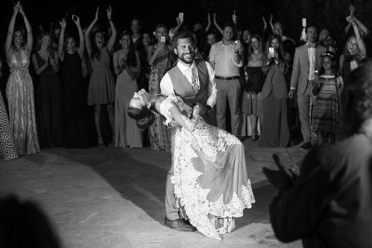 wedding dance couple antiparos party sparklers
