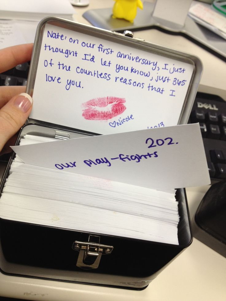 A homemade anniversary gift for the boyfriend. 365 reasons why I love you on individual notecards in a tin box.   this is actually a sign since it's our first anniversary AND the card is addressed to Nate. THANK YOU PINTEREST <3