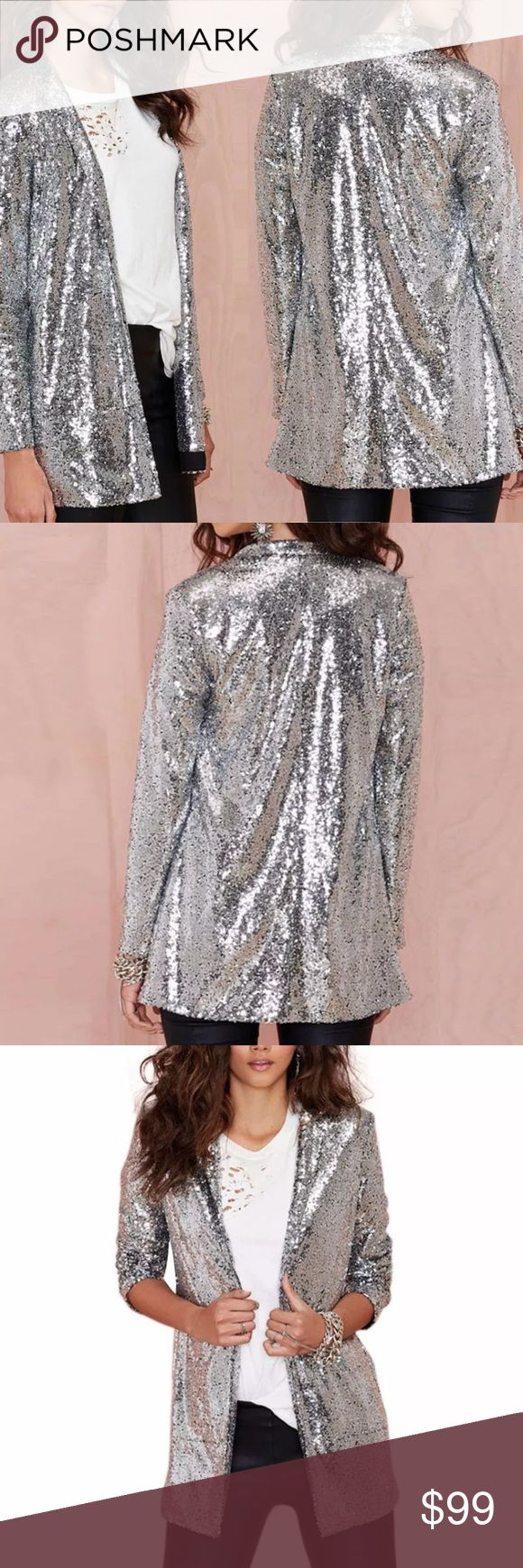 🍁FALL PREVIEW🍁Silver Sequin Blazer ❤️ARRIVING IN NOVEMBER❤️  •Brand new unbranded boutique item, perfect for NEW YEARS/CHRISTMAS PARTY •Like this listing and will tag you once the item arrives, price will be lowered •Measurements available in the provided chart •If you cannot figure out your size let me know your measurements and will tell you if it will fit or not. •Fabric is polyester and will look just like in the pictures  © Rebellious Cactus Boutique 2017 Jackets & Coats