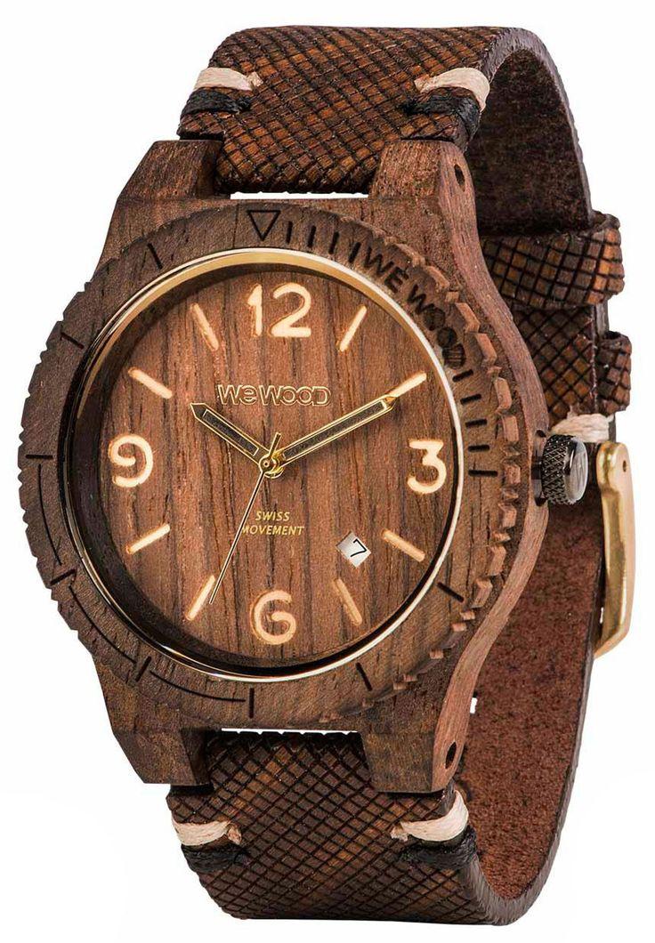Wewood Holzuhr Lederarmband braun Herren Armbanduhr WW08007, Schweizer Uhrwerk ISASWISS 9232B2 (9232-1930), Ahornholz Uhrengehäuse, Leder-Armband mit Dornschließe, Durchmesser 45 mm, Höhe 11 mm, Gewicht ca. 56 g, Datumsanzeige