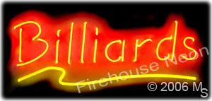 Great neon sign for a pool hall or a billiards store.