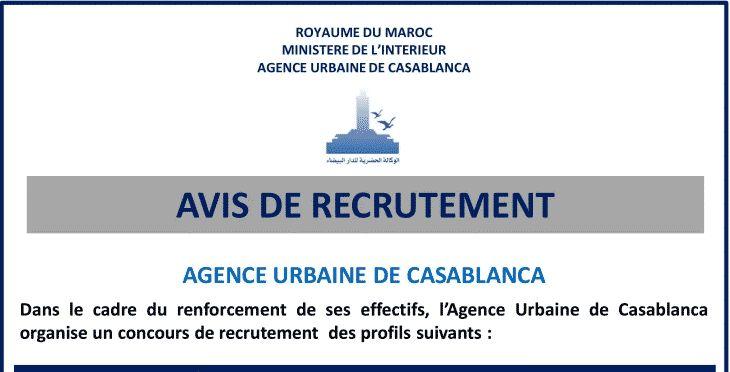 Concours Agence Urbaine De Casablanca 4 Postes Casablanca Recrutement Cabinet De Recrutement