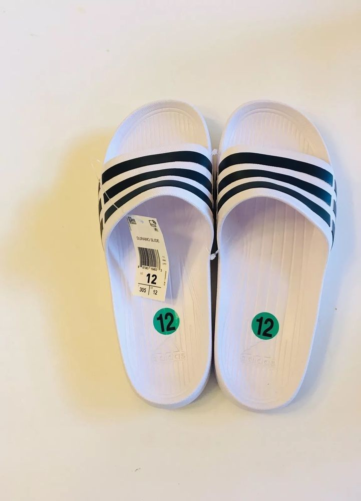 new style e5a3b 8d966 ADIDAS DURAMO SLIDES MENS SIZE 12 White Black Stripes Slippers F32892 NWT  fashion clothing shoes accessories mensshoes sandals (ebay link)