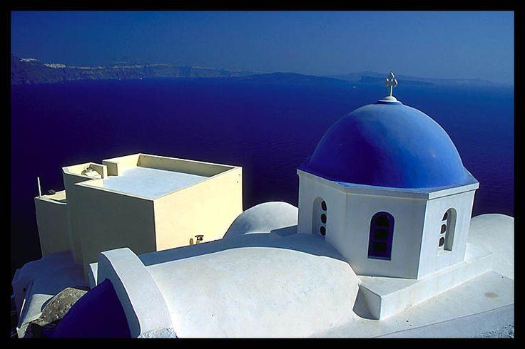 Whitewashed Church in Ia Santorini, Greece
