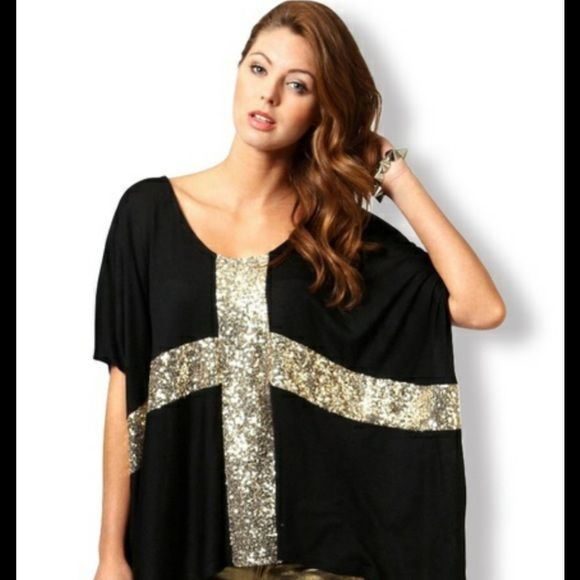 Slouchy top w/gold sequence cross Comfy, dress up, down, do your thing! NWOT Tops Tees - Short Sleeve