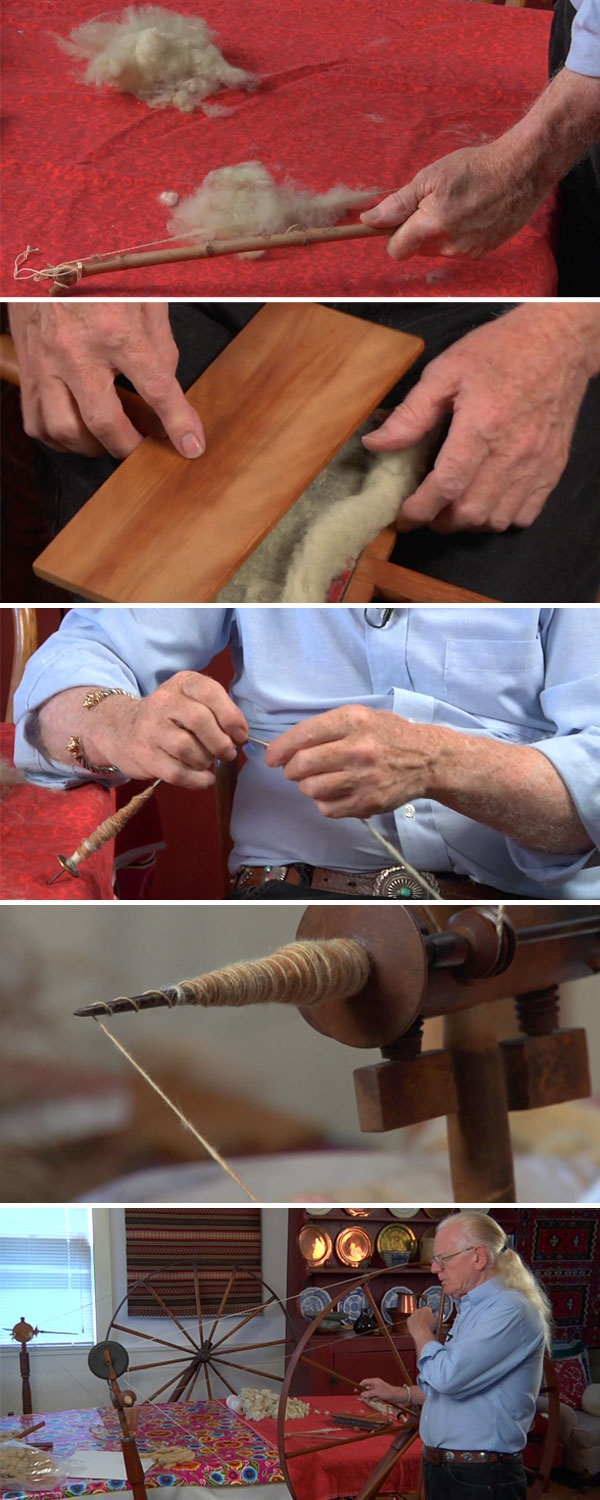 Learn how to spin cotton with traditional methods in Norman Kennedy's workshop DVD Spin Flax and Cotton.