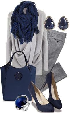 Work outfit : liven up a gray outfit with splashes of sapphire blue! Gorg