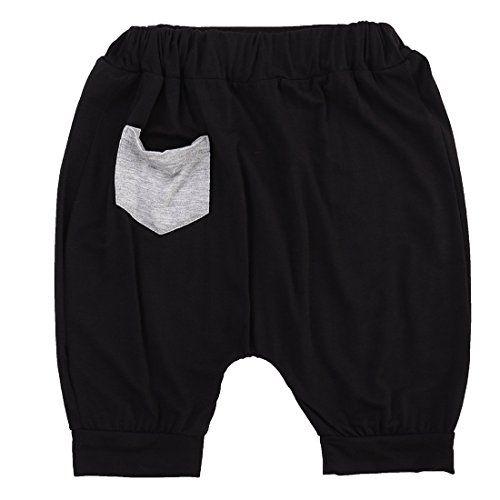 14 Year Toddler Baby Boy Shorts Elastic Pocket Summer Short Pants 12Y Black * Click on the image for additional details.