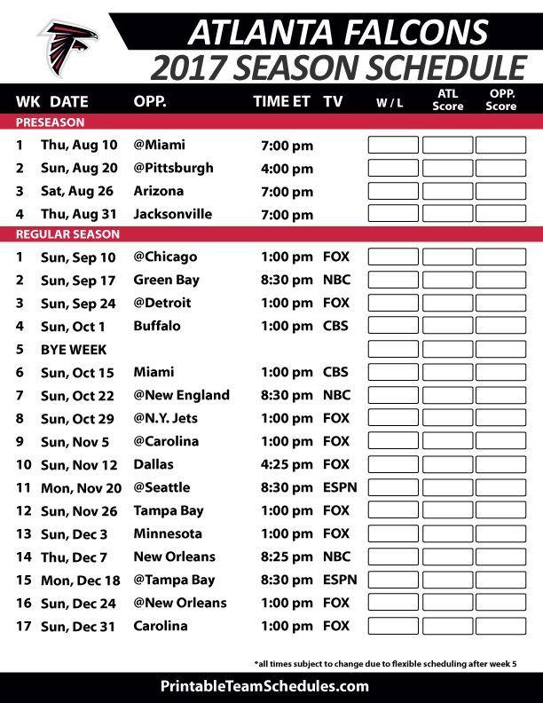 Atlanta Falcons 2017 Season  Schedule. The Atlanta Falcons are a professional American football team based in Atlanta, Georgia. The Falcons compete in the National Football League as a member club of the league's National Football Conference South division.