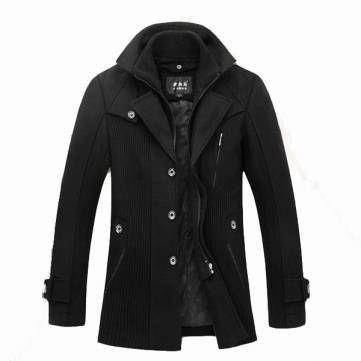 Men's Winter Parka Detachable Double Layer Collar Wool Coat