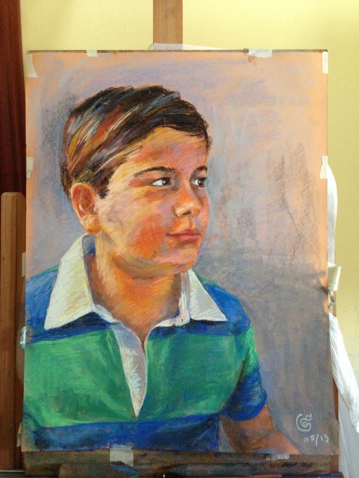 Encargo de retrato para un regalo de comunión...me gusta como me quedó el claroscuro de la cara y la forma del trazo