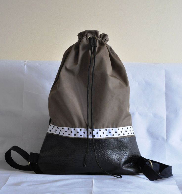 Handmade backpack with dotted grosgrain ribbon