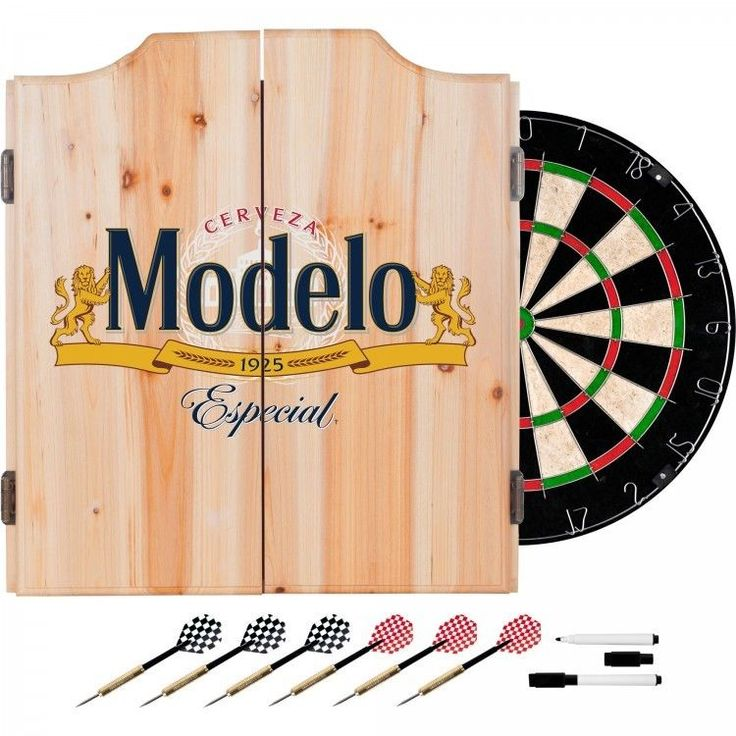 Modelo Dart Board Set with Cabinet 6 Steel Tip Darts and Sisal Fiber Dartboard #TrademarkGlobal