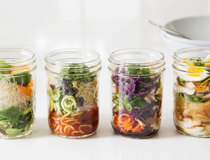 Homemade Noodle Pots: Easy, fast make ahead lunch. Fill mason jars with fresh veggies, noodle or grains & spices. Refrigerate. Add boiling water when ready to eat.