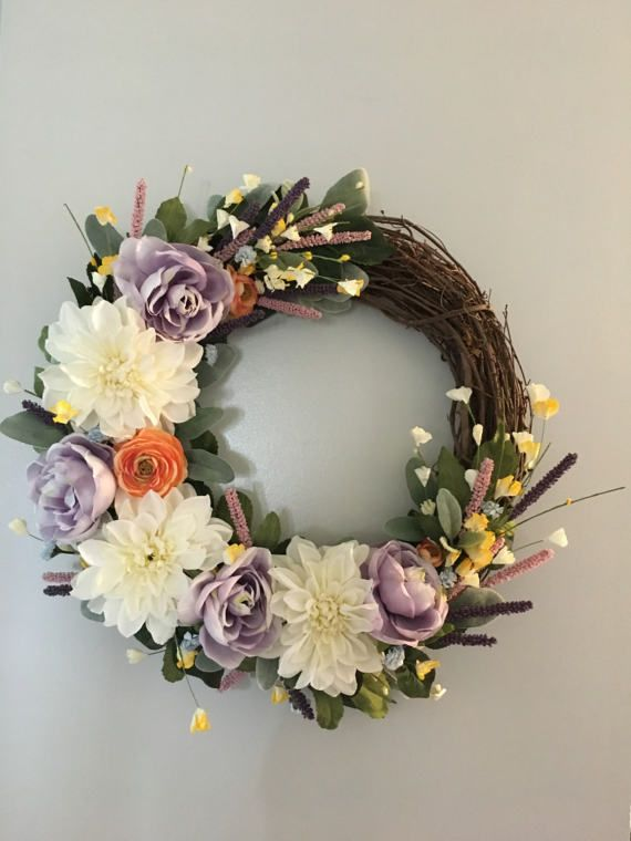 Spring Wreath Easter wreath custom wreath purple wreath
