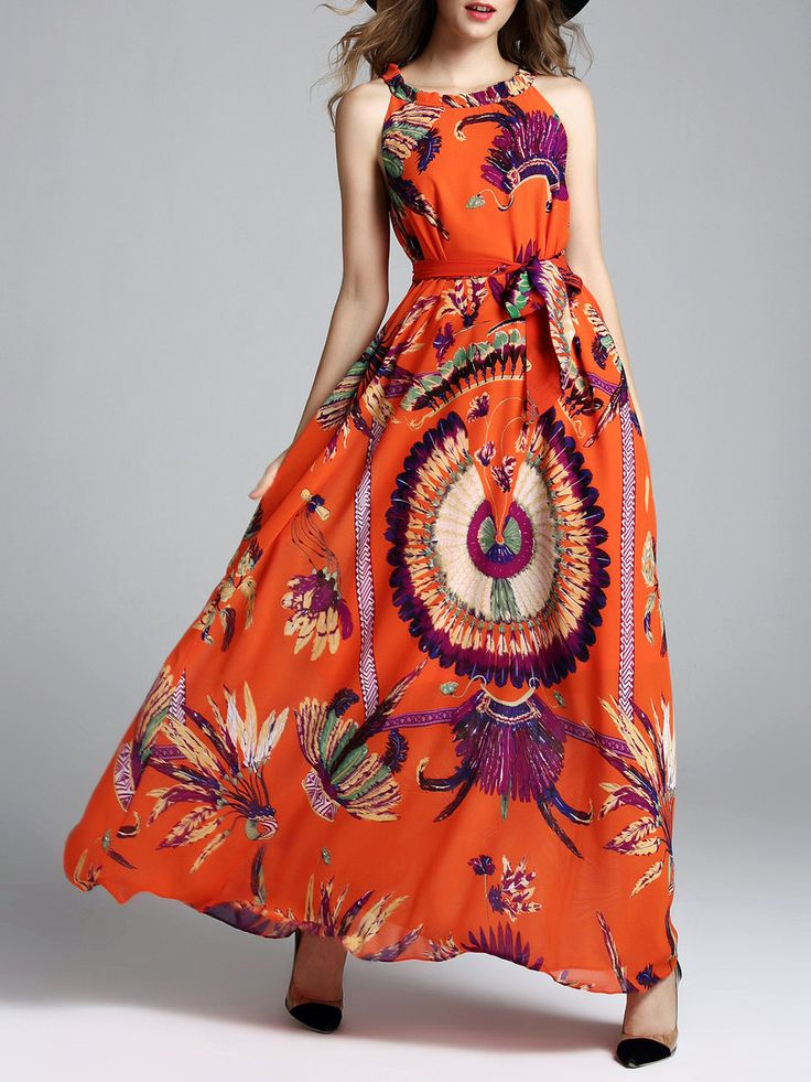 Shop Maxi Dresses - Orange Swing Vintage Crew Neck Animal Print Maxi Dress online. Discover unique designers fashion at StyleWe.com.