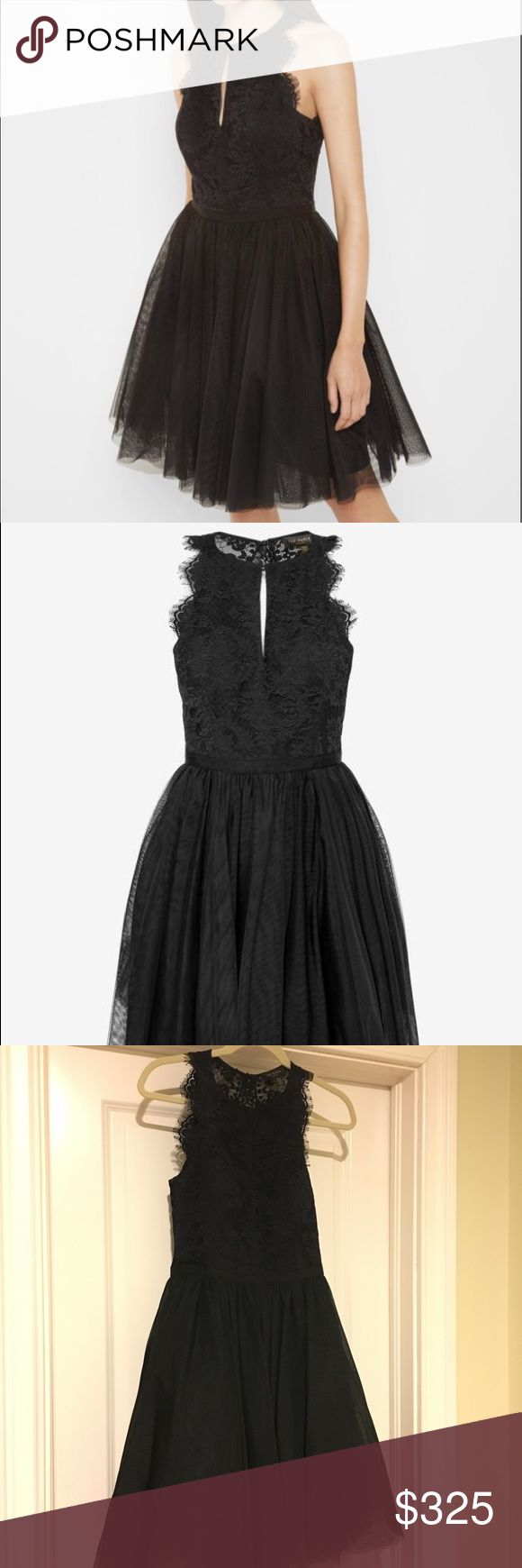 Ted Baker Black Tulle and Lace dress SZ 2 Worn once just for a photoshoot - Like New Condition. Beautiful black dress with lace top and tulle skirt. Has a elegant open back and built in bra. Perfect for your next holiday party. Paid $459 for it at Bloomingdales. My loss your gain! Ted Baker Dresses