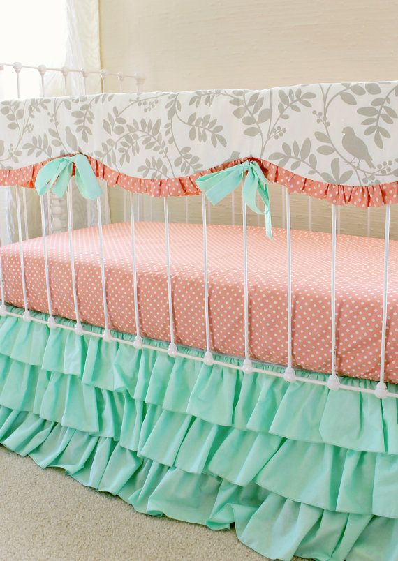 Mint Crib Bedding Bumperless Baby Girl Bedding Set by LottieDaBaby