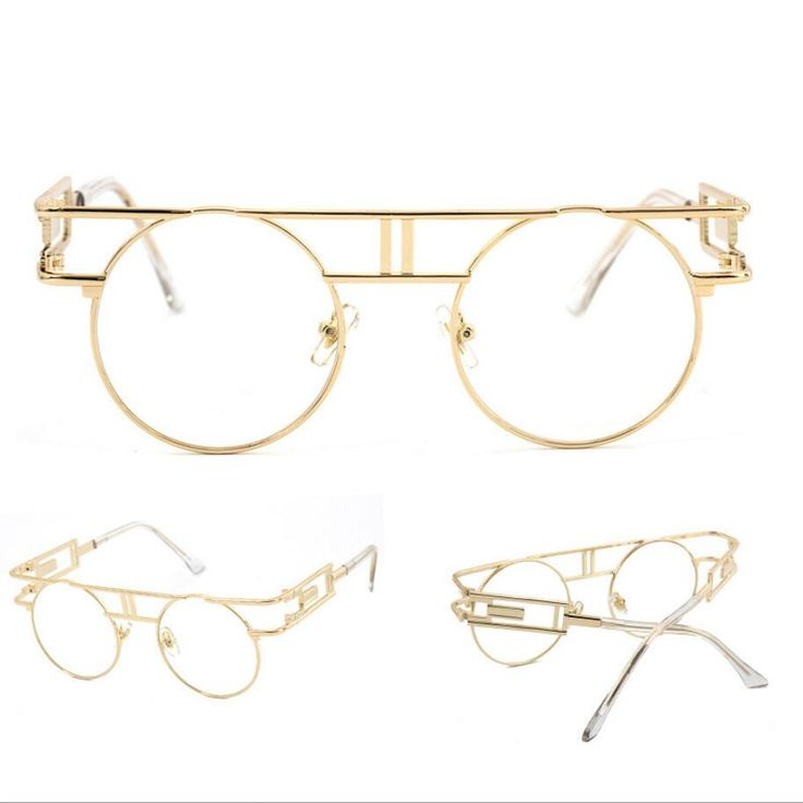 Steampunk round unisex sunglasses are retro and elegant. Features include a bold full rim metal frame, metal hinges and mirrored UV400 protected lenses. The intricate details and bold rimmed frame tha