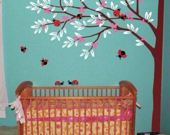 Etiqueta de árbol esquina con mariquitas vivero árbol mariquitas pared stickers murales infantiles bebé calcomanías 004_2