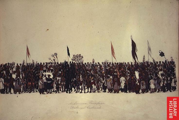 *Muharram festival procession. Inscribed: 'Mahomedan Procession. Mahorum Festival'. Opaque watercolour, c.1828* (BL)
