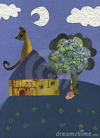Gatto Nella Luce Della Luna - Illustrazione Fotografia Stock Libera da Diritti - Immagine: 5671555
